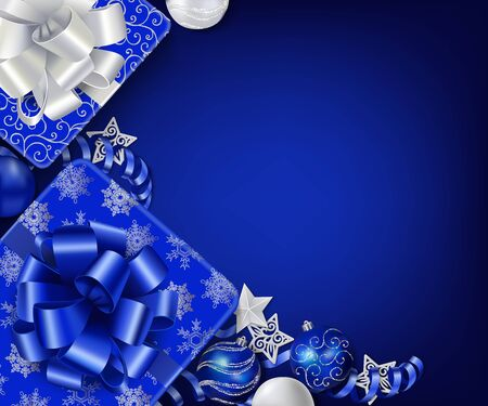Horizontal Christmas background in white and blue colors with place for your text. Gift boxes, Christmas ornaments and serpentine streamers on the white wooden table. Top view. Vector Ilustracja
