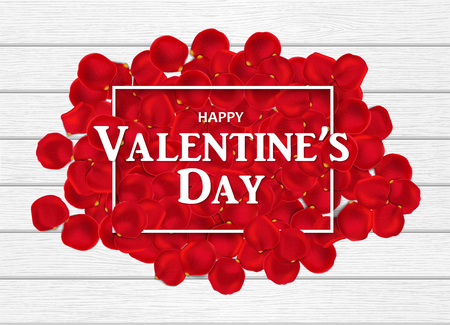 Heap of red rose petals on the white wooden table. Rectangle frame and lettering Happy Valentines Day on them. Top view. Horizontal holiday background. Vector illustration, heap, pile Illustration