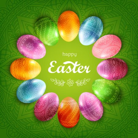 Ornamental green square background with colorful decorated Easter eggs laying by a circle and lettering Happy Easter in the centre of composition.