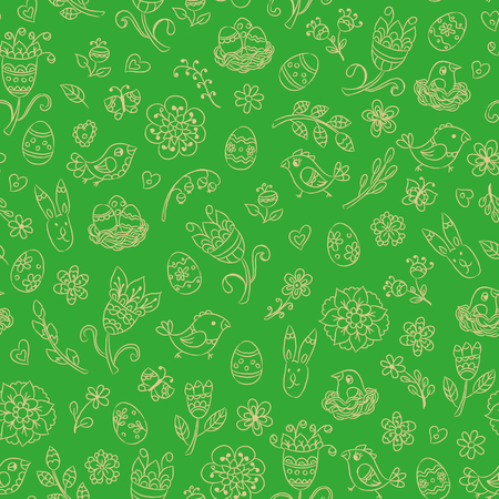 Green Easter seamless pattern with hand drawn line doodles. Vector illustration. Illustration