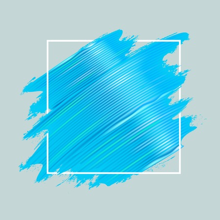 Light blue oil paint brushstrokes and square frame. Realistic painting texture. Abstract background. Vector illustration.