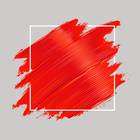 Red oil paint brushstrokes and square frame. Realistic painting texture. Abstract background. Vector illustration. Ilustração