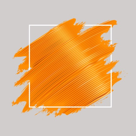 Yellow oil paint brushstrokes and square frame. Realistic painting texture. Abstract background. Vector illustration.