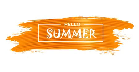 Abstract background with Hello Summer lettering on the bright yellow paint brash stroke. Vector illustration