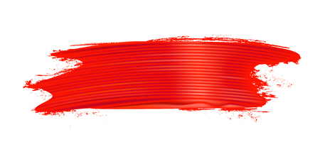 Horizontal realistic red brush stroke. Paint texture. Design element. Vector illustration.