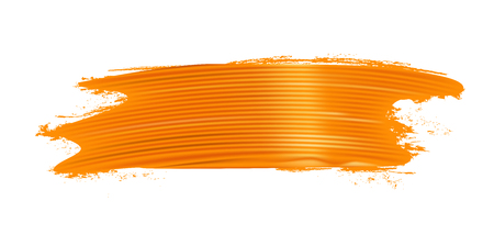 Horizontal realistic yellow brush stroke. Paint texture. Design element. Vector illustration.