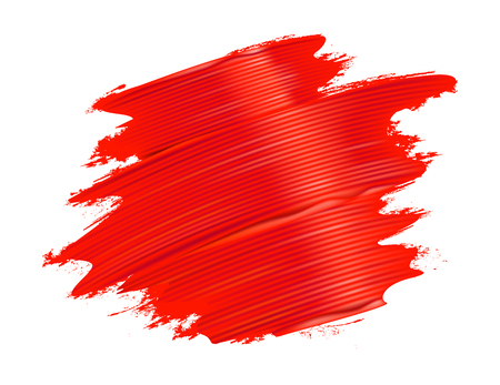 Red brushstrokes background. Realistic paint texture. Vector illustration. Фото со стока - 96976052