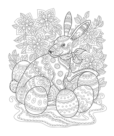 Outline Easter bunny decorated with folk ornament. Page of adult coloring book. Contour Rabbit with Easter eggs and flowers ornate with ethnic pattern. Vector illustration.