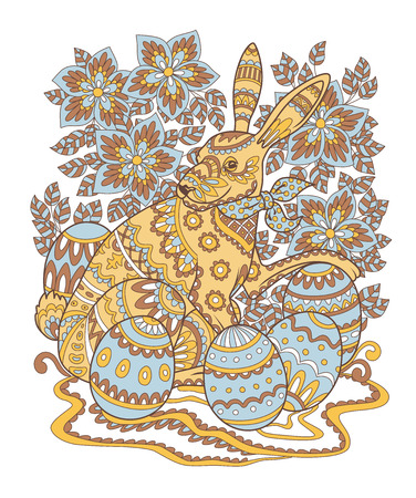 Colored pattern of Easter bunny decorated with folk ornament. Page of adult coloring book. Colorful Rabbit with Easter eggs and flowers ornate with ethnic patterns. Vector illustration. Illustration
