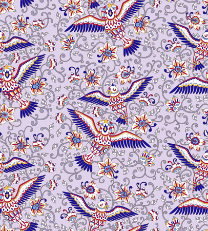 Seamless pattern with decorative birds and flowers. Folk ornament in bright red, blue, white colors on light lilac background. Vitreous enamel effect. Vector illustration.