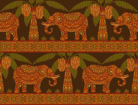 Seamless pattern with elephant and palm trees in ethnic style. Folk tradition decorative ornament on the dark background. Vector illustration.