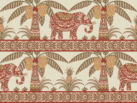 Seamless pattern with elephant, palm trees and pineapples in ethnic style. Folk tradition decorative ornament in muted red, green and yellow colors. Vector illustration.