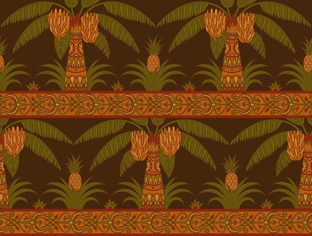 Seamless pattern with palm trees and pineapples in ethnic style. Folk tradition decorative ornament on the dark background. Vector illustration. Ilustração