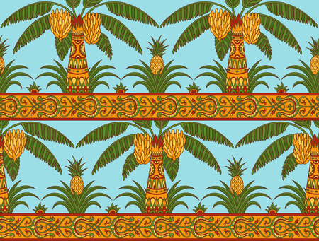 Seamless pattern with palm trees and pineapples in ethnic style. Folk tradition decorative ornament in bright colors on the light blue background. Vector illustration. Ilustração