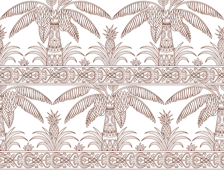 Seamless pattern with palm trees and pineapples in ethnic style. Outline folk tradition decorative ornament. Vector illustration.