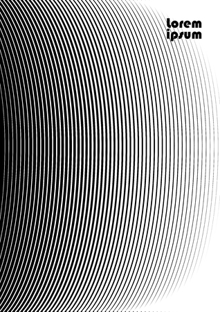 Vertical abstract background with striped halftone pattern in black and white colors. Texture of gradient semicircle line ornament. Design template of flyer, banner, cover, poster in A4 size. Vector illustration.