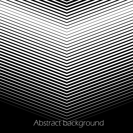 Square abstract background with striped halftone pattern in black and white colors. Texture of gradient diagonal V-shape line ornament. Design template of flyer, banner, cover, poster. Vector illustration.