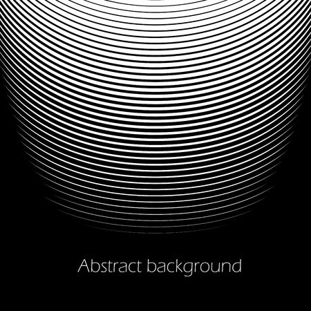 Square abstract background with striped halftone pattern in black and white colors. Texture of gradient semicircle line ornament. Design template of flyer, banner, cover, poster. Vector illustration. Banque d'images - 103257225
