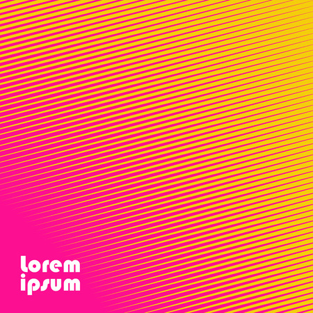 Square abstract background with striped halftone pattern in neon colors. Texture of gradient diagonal line ornament. Design template of flyer, banner, cover, poster. Vector illustration.