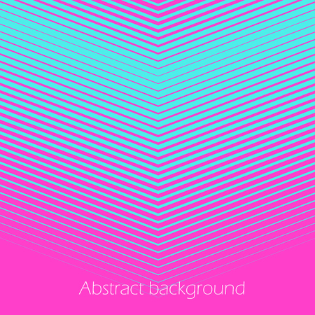 Square abstract background with striped halftone pattern in neon colors. Texture of gradient diagonal V-shape line ornament. Design template of flyer, banner, cover, poster. Vector illustration.