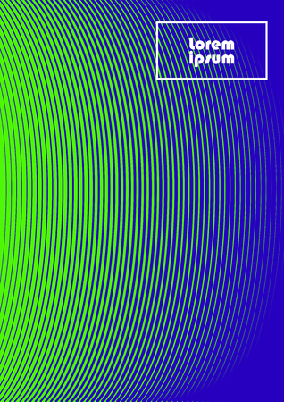 Vertical abstract background with striped halftone pattern in neon colors. Texture of gradient semicircle line ornament. Design template of flyer, banner, cover, poster in A4 size. Vector illustration.