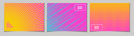 Set of horizontal abstract backgrounds with halftone pattern in neon colors. Collection of gradient textures with geometric ornament. Design template of flyer, banner, cover, poster in A4 size. Vector Illustration