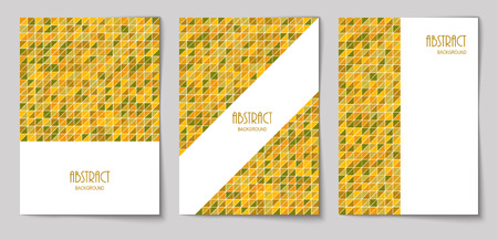 Set of vertical mosaic background with mustard color triangle elements and white place for text. Vector illustration.