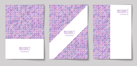 Set of vertical mosaic background with pale purple triangle elements and white place for text. Vector illustration.