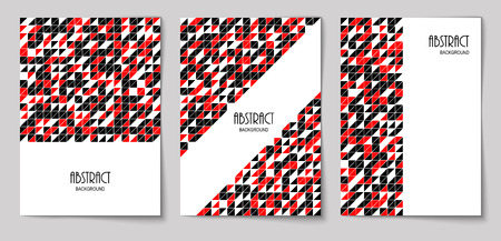Set of vertical mosaic background with black, red and white triangle elements and place for text. Vector illustration.