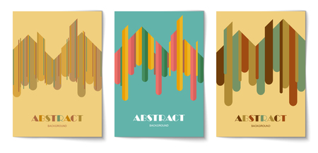Set of vertical background with abstract rounded strip shapes. Design template of flyer, banner, cover, poster in A4 size. Vector illustration. 向量圖像