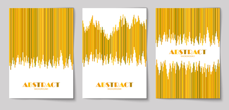 Set of abstract vertical background with striped pattern in mustard and yellow colors. Design template of flyer, banner, cover, poster in A4 size. Vector illustration.