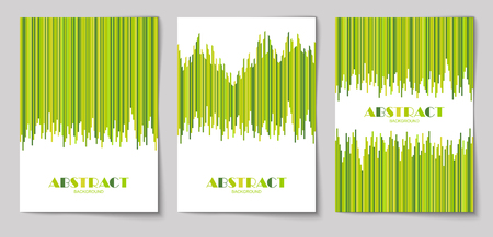Set of abstract vertical background with striped pattern in green colors. Design template of flyer, banner, cover, poster in A4 size. Vector illustration.