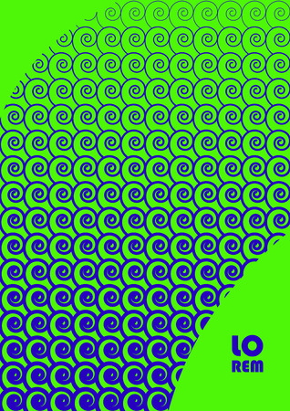 Vertical abstract background with unique halftone pattern in neon colors. Texture of gradient small spiral elements ornament and copy space. Design template of flyer, banner, cover, poster in A4 size. Vector illustration.