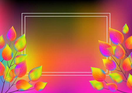 Horizontal gradient background with leaves of rainbow colors and white frame. Vector illustration.
