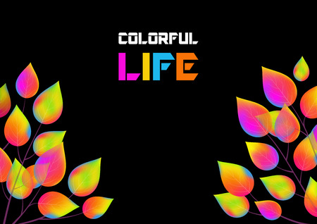 Horizontal black background with leaves of rainbow colors and copy space. Vector illustration. 向量圖像