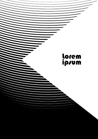 Vertical abstract background with striped halftone pattern in black and white colors. Texture of gradient semicircle line ornament and copy space. Design template of flyer, banner, cover, poster in A4 size. Vector illustration.