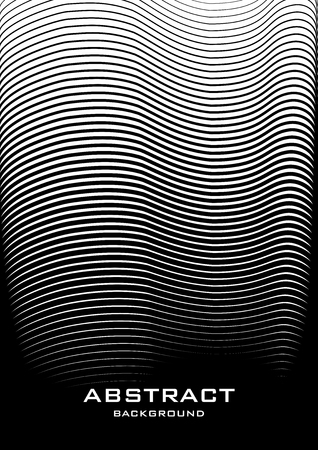 Vertical abstract background with striped halftone pattern in black and white colors. A wavy texture of gradient line ornament. Design template of flyer, banner, cover, poster in A4 size. Vector illustration. 向量圖像
