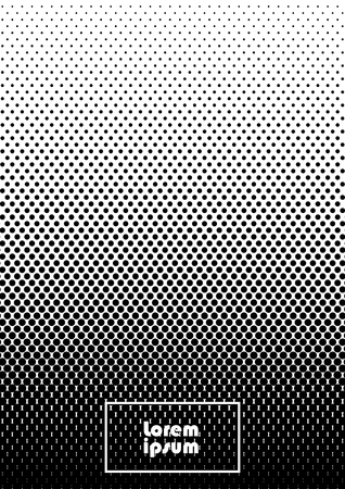 Vertical abstract background with dotted halftone pattern in black and white colors. A gradient texture of dot ornament. Design template of flyer, banner, cover, poster in A4 size. Vector illustration.