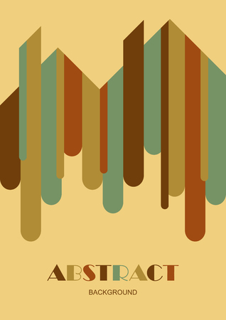 Vertical background with abstract rounded strip shapes. Design template of flyer, banner, cover, poster in A4 size. Vector illustration. Çizim