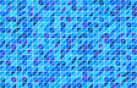 Horizontal mosaic background with blue triangle elements. Vector illustration.
