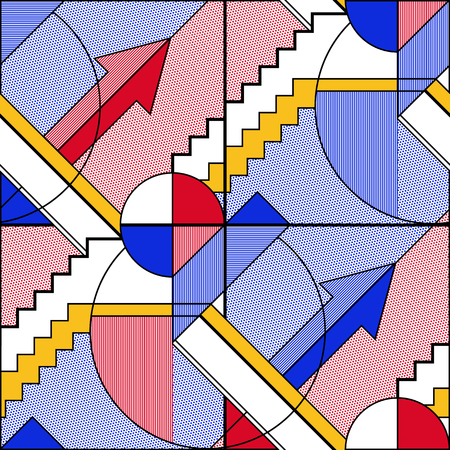 Abstract seamless geometric pattern in blue and red. Modular painting with four panels. Background in the abstractionism style. Vector illustration.