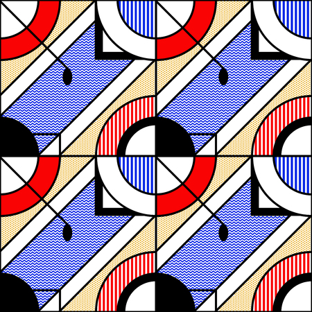 Abstract seamless geometric pattern in blue and red colors. Stylized image of the pool. Modular painting with four panels. Background in the abstractionism style. Vector illustration.