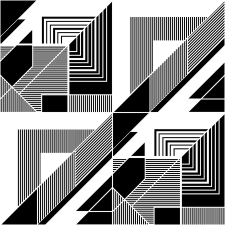 Black and white abstract seamless geometric pattern. Modular painting with four panels. Background in the abstractionism style. Vector illustration.