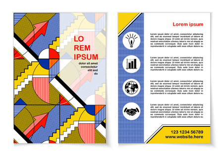 Template design of flyer, brochure, cover, poster in abstract art style. Vertical background with colorful geometric pattern. Layout  front and back of leaflet with modern graphic ornament. Vector
