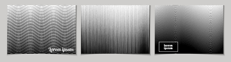 Set of horizontal abstract backgrounds with halftone pattern in black and white colors. Collection of gradient textures with geometric ornament. Template of flyer, banner, cover, poster in A4 size. Vector 向量圖像