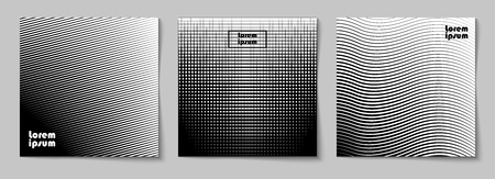 Set of square abstract backgrounds with halftone pattern in black and white colors. Collection of gradient textures with geometric ornament. Design template of flyer, banner, cover, poster. Vector