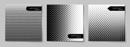 Set of square abstract backgrounds with halftone pattern in black and white colors. Collection of gradient textures with geometric ornament. Design template of flyer, banner, cover, poster. Vector illustration 向量圖像