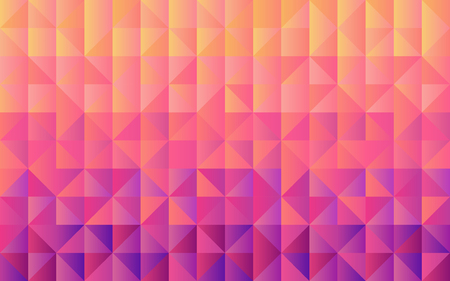 Horizontal background grid of triangles with gradient from yellow to violet. Trendy design template. Vector illustration.