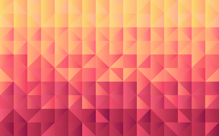 Horizontal background grid of triangles with gradient from yellow to maroon color. Trendy design template. Vector illustration