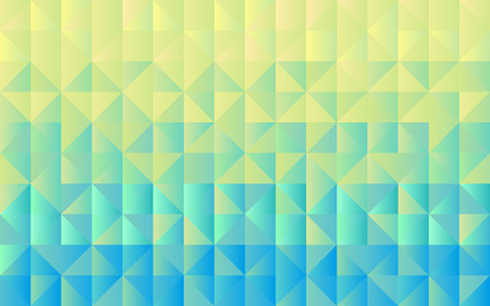 Horizontal background grid of triangles with gradient from yellow to light blue color. Trendy design template. Vector illustration 向量圖像